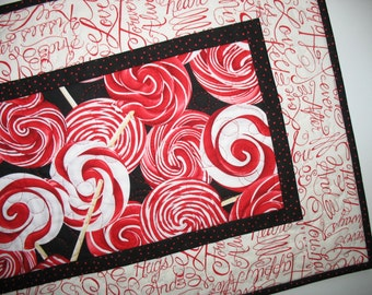 Valentine Table Runner, Strawberry Swirl Suckers, Love, Romance,Swirls in red, quilted, focus fabric from Benartex