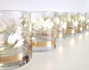 Vintage Libbey Magnolia Blossom Lowball Glasses / Floral Greek Key