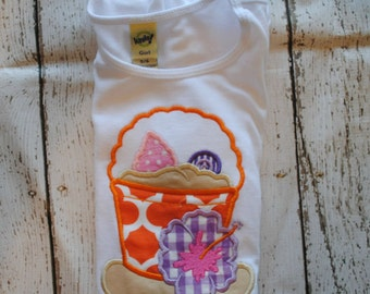 Sandpail with shells and flower Personalized Shirt or Bodysuit