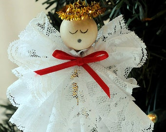 DIY Angel Ornament Christmas Craft Kit Lace Angel Christmas Ornament DIY Kit