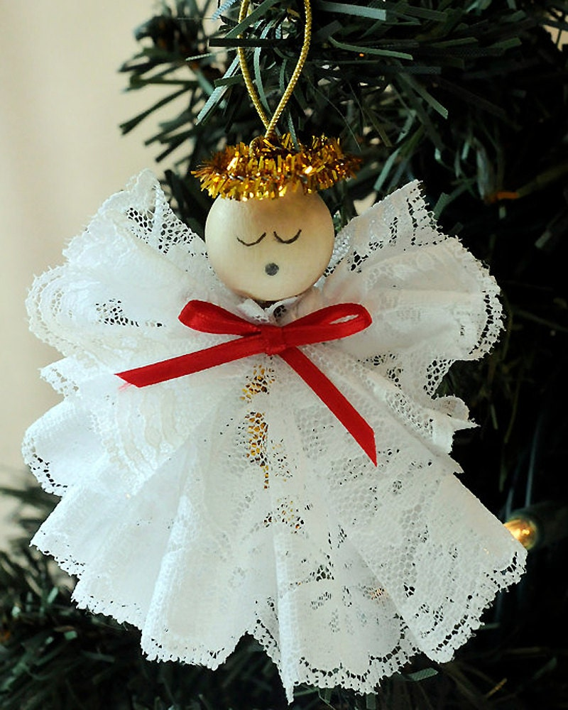 Diy angel ornament christmas craft kit lace