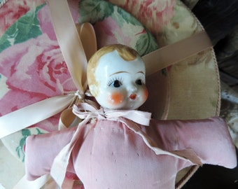 Pincushion Doll in Satin Cloth Body Porcelain Head Ribbon Not Finished Bonnet Missing Adorable