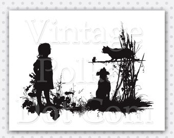 Clip Art Vintage Silhouette Little Girl Dog Cat and Mouse Animals Outdoors Clipart Printable Digital Nature Silhouettes Instant Download