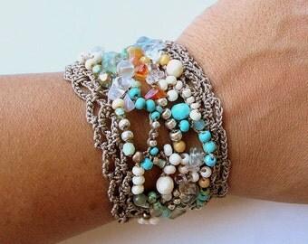 "Beaded cuff bracelet, freeform crochet, ""sand and stone"", aqua, cream, fall fashion, crochet jewelry, bohemian jewelry, boho wedding, ooak"