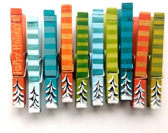 WINTER TREES CLOTHESPINS hand painted magnets
