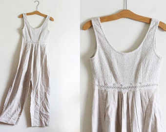 Vintage Cotton and Flax Jumpsuit / Small