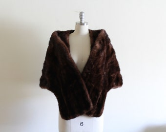 60's Mink Fur Stole / Brown Mink / Timeless and Classic / Free Size / Mink Cape Wrap