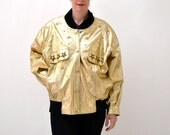 Vintage 80s Metallic Gold Leather Jacket, Size Large XL // Vintage Gold Leather Bomber Jacket Studded Size Large XL