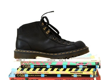 Amazing 90s Black Dr. Martens Boots Size Women 9 9 1/2 Hiking Boot// Vintage Doc Marten Black Boots Size 7 UK Made in England