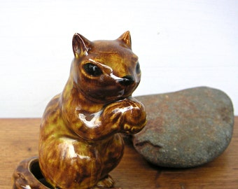 Squirrel and Acorn Vintage Figurine Ceramic