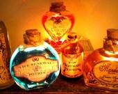 Cortney 7 Potion Bottles Halloween Decoration Prop Love Potion, Elf Tears, Mandrake, Nightmare, Life Renewal, Death, Blood of Bat