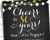 Cheers to 80 years - Adult Surprise Birthday Invites - Chalkboard - Black - Gold Glitter  Birthdays