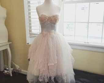 Betty-Perfect vintage fairy wedding dress-lace and tulle short wedding dress