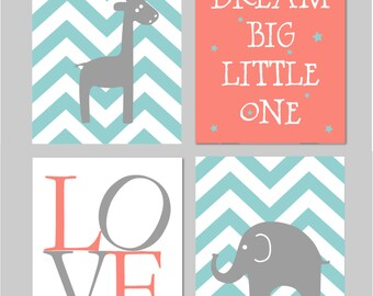 "Coral Nursery, Baby Elephant Nursery Girl, Teal Nursery. Dream Big Little One, Elephant Nursery, Chevron Nursery Set of four 8""x10"" prints"