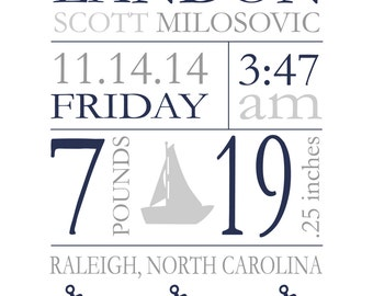 """Birth Stats Wall Art Birth Announcement Print New Baby Gift  Baby Birthdate Print Nautical Nursery Baby Gift ANY COLORS 8""""x10"""""""