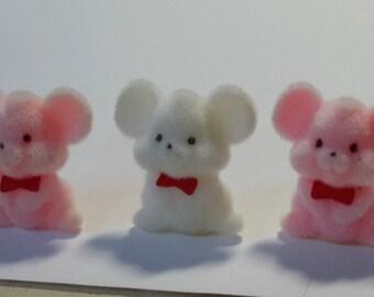 """3 mini FLOCKED MICE soft velvety feel pink white 1 1/2"""""""