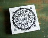"Original Mandala Art, Mandla Illustration, Mandala Block, 4""x4"" spiritual art, meditation art, Pen & Ink, Black, white, ""Awakening Mandala"""