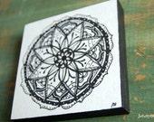 "Original Mandala Art, Mandala Illustration, Mandala Block, 4""x4"" spiritual art, meditation art, Pen Ink, Black white ""Introspection Mandala"""