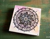 """Original Mandala Art, Mandala Painting, Mandala Block, 4""""x4"""" spiritual art, meditation art, spiritual art, Pink, Orange """"Joy Mandala"""""""