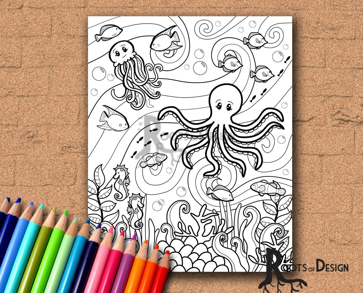 Under the sea coloring book for adults - Instant Download Coloring Page Under The Sea Doodle Art Adult Coloring Printable Page
