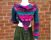 Pixie hooded shrug with a pointy back upcycled by Niknok