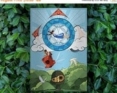 CIVIC DUTY SALE Castle in the Sky Alternate Anime Movie Poster // Studio Ghibli Inspired Stained-glass, Mosaic with Airship, Robot, and Floa
