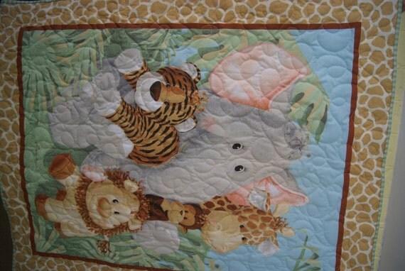 Baby Zoo Animals Panel Quilt