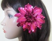 Fuchsia Poinsettia with sequins hair clip - Weddings - Christmas flower -