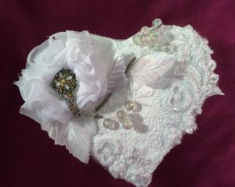 Wedding Jewelry Trinket Box White Beaded Appliques Chiffon Rose Gifts Inside