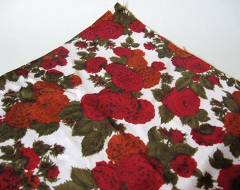 Gorgeous red rose mum floral synthetic vintage lining fabric wiggledress styling 2 plus yards