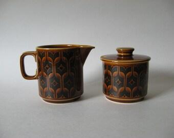 REDUCED Hornsea Heirloom England vintage creamer and sugar mini pitcher 70s ceramic jam jar mustard pot
