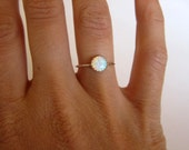 Opal ring. Silver ring band. Gemstone ring. Skinny stacking ring.