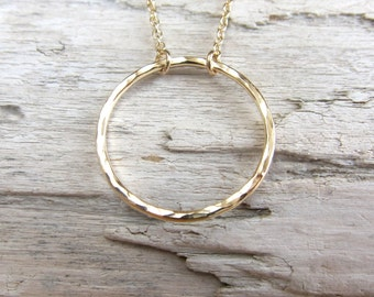 Circle necklace. Eternity necklace. Gold filled or sterling silver textured hoop.