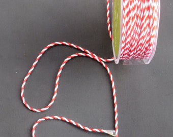 1/16 Inch Twisted Rope Ribbon - Red And White - 10 Yards