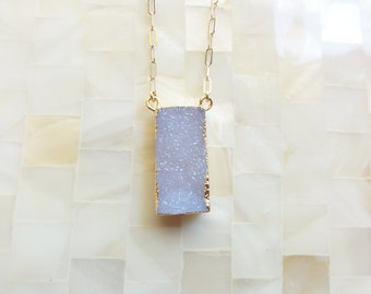 Sparkling Gold Edge Pale Gray Elongated Rectangle Druzy Drusy Pendant on Gold Chain Necklace (N1706)