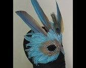 Light Greenish Blue Mardi Gras Feather Mask Accented by Macaw Wings, Peacock Eye