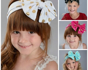 CLEARANCE Baby Headbands, Girls Head wraps,Gold Messy Bow Baby Head wraps, Jersey Knit Headwraps, Big Bow Baby Headbands, Knott Headband,