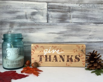 Thanksgiving Decor, rustic wood word art block, hand painted, One of a Kind