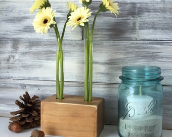 Tetst Tube Bud vase, small flower vase, rustic wood, brown, rustic decor, small gift