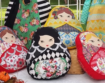 Matryoshka Applique pillow- unique slavic folk russian nesting doll  home decor