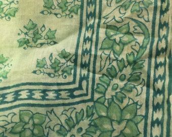 Cotton scarf India Soft square green no flaws floral 21x21""