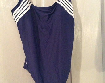Speedo swimsuit sz 18 sale! 1-pc NWOT Plus/navy &white trim nylon/spandex 80s/Vtg