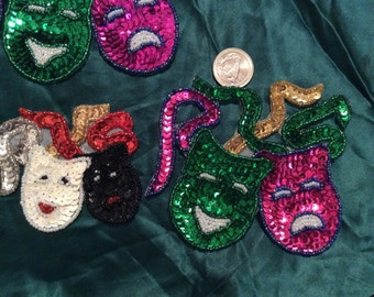Comedy tragedy/3 sequin appliqués: see pictures/beaded/new