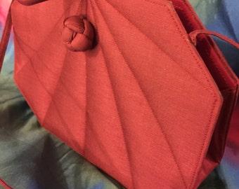 Silk purse small/unusual geometric shape/Secure closure/red/Long strap
