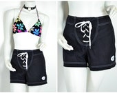 90s black white summer lace up surf board shorts