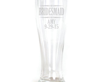 Personalized Pilsner Glass - 19oz - 9584 Bridesmaid Personalized