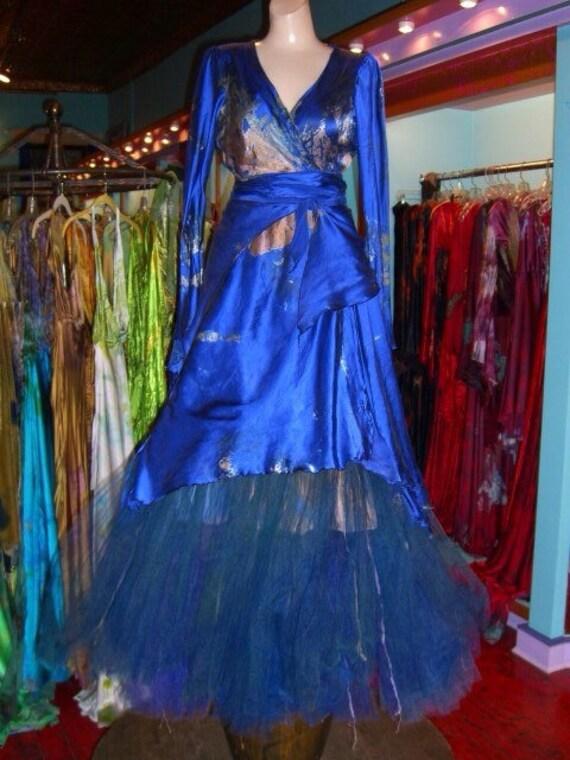 Silk Royal Blue Silk Long Wrap Top With Crinoline
