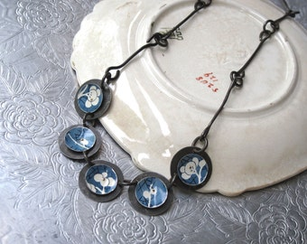 Blue Tin Disc Necklace-Asian Style-Industrial Chic-10th Anniversary