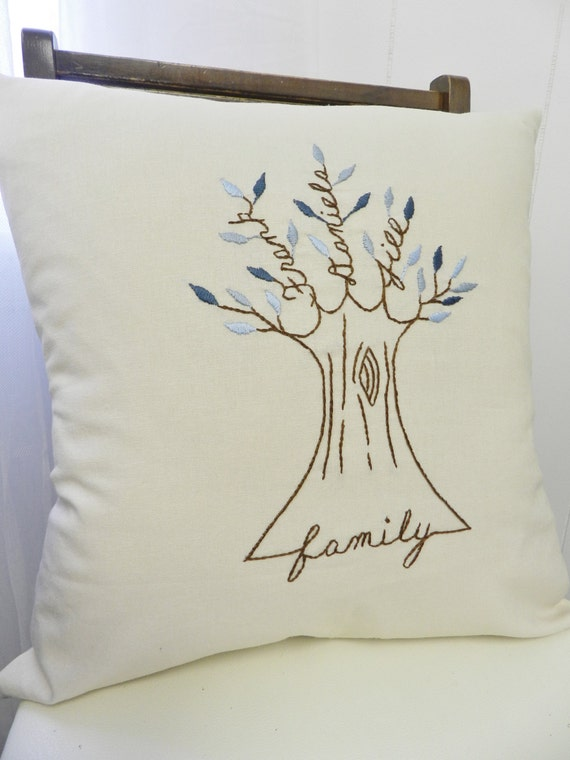 Personalized Family Tree Pillow Cover. Gift for Mom or Dad. Shades of BLUE. Grandfather. Gift for Parents Anniversary gift. FamilyTree Art.