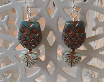 Czech Glass Owl and Leaf Earrings